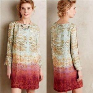 Anthropologie Maeve Cleome Silk Long Sleeve Dress